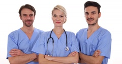 Happy Successful Medical Doctors Men and Woman Looking Camera Healthcare Center Stock Footage