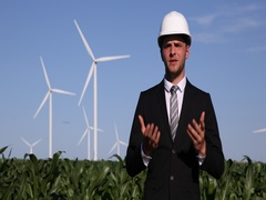 Successful Businessman Talking Electricity Production Wind Turbines Presentation Stock Footage