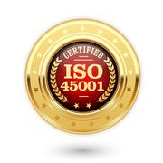 ISO 45001 certified medal - occupational health and safety insignia Stock Illustration