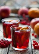 Homemade Hot Delicious Red Sangria with Berries, Oranges, Spices and Apples Stock Photos