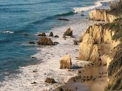 Deserted Wild El Matador Beach Malibu California Ocean Waves with Rocks Stock Footage