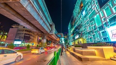 Night traffic in the city Bangkok, Thailand. November, 2016. 4K TimeLapse Stock Footage