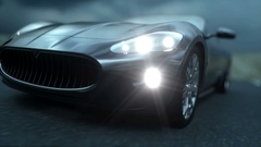 Black sport car on road, highway. Dark environment. Super realistic 4K animation Stock Footage