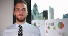 Charming Business Man Looking Camera and Posing Trustful Ok Sign London Skyline Stock Footage