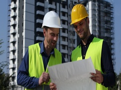 Engineer Men Teamwork Explain Looking Under Construction Building Planning Chat Stock Footage