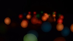 Garland Light Effects. Fast flashing and refocusing Stock Footage