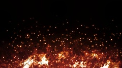 Abstract fire flame and ash flying the sky from hot burning flame background. Stock Footage