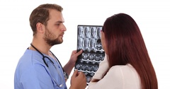Specialist Medical Doctor Man Negative Reponse Examining Ct Scan Hospital Room Stock Footage