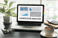 COMPETITOR ANALYSIS and Product life cycle Businessman plan Stock Photos