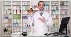 Young American Pharmacist Specialist Talking About Bottle Recipient Medication Stock Footage