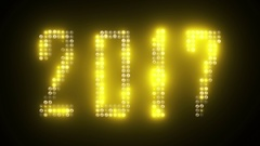 2017 New Year's text simulating led lights with glowing effect.  Stock Footage