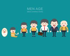 Generations man. People generations at different ages. Stock Illustration