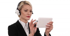 Young Handsome Business Female with Headphones Listening Happy Music Office Hour Stock Footage