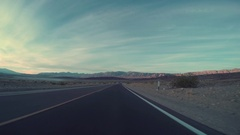 Driving On Desert Road, Driver's Perspective Stock Footage