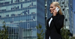 Successful Pretty Woman Talking Mobile Phone Partner Connection Office Building Stock Footage