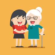 Illustration of young volunteer woman caring for elderly woman. Stock Illustration