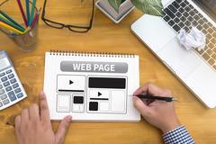 Web Design Template and  web page Closeup shot of laptop with digitalt Stock Photos