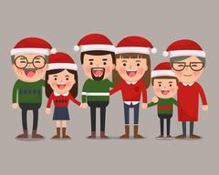Happy family in Christmas hats. Grandparents Stock Illustration