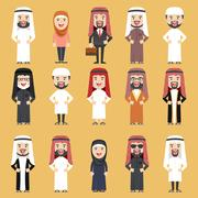 Group of Different People in Traditional Arab Clothes. Stock Illustration