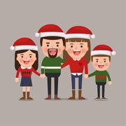 Happy family at Christmas. Vector illustration of a flat design Stock Illustration