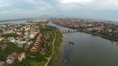 Over the resort of Hoi An and the Thu Bon river Stock Footage