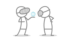 Cartoon Animation Of Doodle Man Showing A Virtual Reality Application. Stock Footage