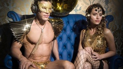 Gold sexy music party man woman club disco Stock Footage