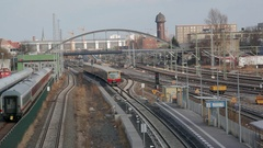 Sbahn public transport train arrives in Warschauer station, Berlin, Germany Stock Footage