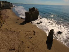 Deserted Wild El Matador Beach Malibu California Aerial Ocean View Stock Footage