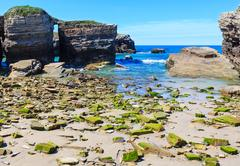 Summer Atlantic coast and beach (Galicia). Stock Photos