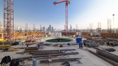 Construction site on which to build high-rise buildings timelapse hyperlapse Stock Footage