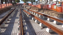 City tram railway roads under construction Stock Footage