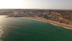 Aerial. Summertime at the beach bathing Luz Stock Footage