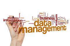 Data management word cloud Stock Photos