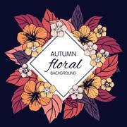 Autumn floral design with hibiscus flowers Stock Illustration