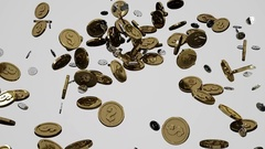 Falling coins dollars cents Stock Footage