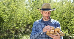 Handsome Peasant Man Interview Talking Hold Organic Brown Potato Looking Camera Stock Footage