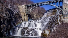 4K Croton Gorge Reservoir Dam timelapse smooth water Stock Footage