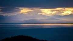 Sun Rays on the Olympics and Puget Sound Stock Footage