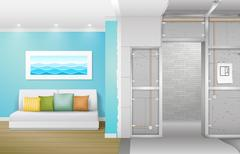 Interior under construction Stock Illustration