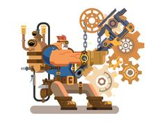 Steam engineer working Stock Illustration