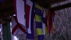 Nautical Flags Waving, Hanging In Wooden Construction HD Stock Footage