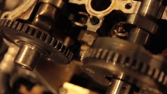 Close-up exploded car engine in garage Stock Footage