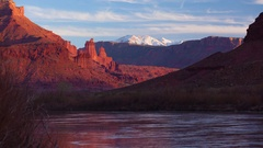 Fisher Towers and Colorado River at Sunset Stock Footage