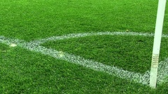 Football Soccer Field Corner. White Line On Green Artificial Grass Stock Footage