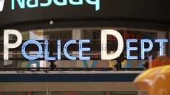 Police Dept Sign Shines In Neon Stock Footage