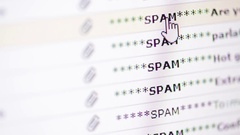 Email inbox  scrolling through  mail page Stock Footage