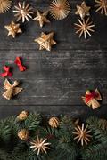 Christmas border design on the wooden background Stock Photos