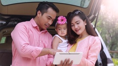 Asian Family with Digital Tablet Stock Footage