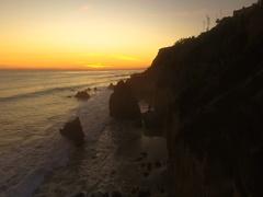 Sunset Deserted Wild El Matador Beach Malibu California Aerial Ocean View Stock Footage